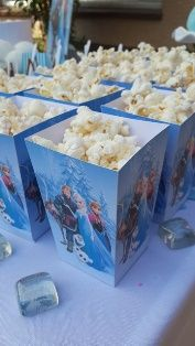 Frozen Party Frozen Theme, Frozen Party, Frozen Birthday, 4th Birthday, Some Ideas, Party Planning, Popcorn Boxes, Kids, Party Ideas