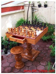 Source Chess table Patio - Outdoor Wooden Chess Table, Natural Wood Color on m.alibaba.com