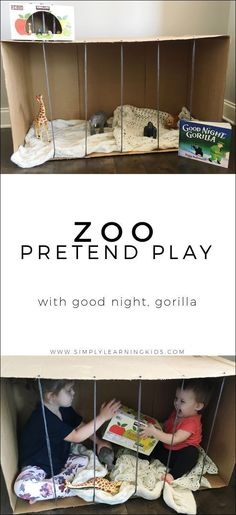 Zoo Pretend Play With Good Night, Gorilla - Simply Learning letter z or make believe Reggio, The Zoo, Simply Learning, Early Learning, Preschool Zoo Theme, Preschool Classroom, Zoo Crafts, Preschool Crafts, Animal Crafts