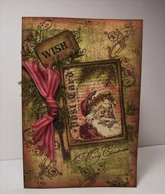 Tim Holtz g Grunge, Christmas card, Vintage by stampin bear - Cards and Paper Crafts at Splitcoaststampers