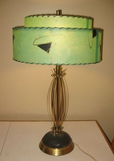 Atomic Space Age Mid Century Lamp with Turquoise 2 Tier Shade | eBay