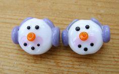 Lampwork Glass Beads Snowmen Pair UK