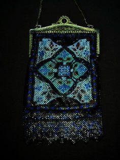 Art Deco Mandalian Metal Mesh Bag, 9 1/2 x 5 1/2 inches. Peacock blue art deco delight.