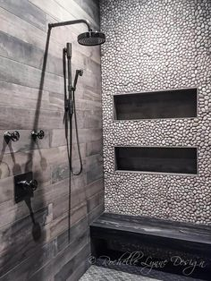 Wood look tile and pebbles in shower, bench seat of stone, large shower niches Wood Tile Shower, Grey Bathroom Tiles, Shower Niche, Bathroom Colors, Bathroom Flooring, Bathroom Ideas, Grey Tiles, Wood Tiles, Modern Bathroom