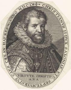 Crispijn van de Passe (I) | Portret van Christiaan II van Saksen, Crispijn van de Passe (I), 1609 | Portret van Christiaan II van Saksen, eronder zijn devies in het Latijn. Hij volgde in 1591 zijn vader Christiaan I van Saksen als keurvorst op, maar stond tot 1601 onder voogdij.