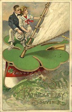 Sailing Shamrock Vintage St. Patrick's Day Card
