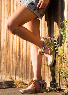 Sweat the Look / Adrianne Ho / On The Fence / Vintage Nike Acid Wash Denim Shorts: The Locker Room Moccasins: Visvim