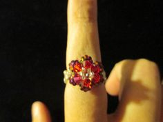 Swarovski Crystal Ring  red over red/blue size 995 by jsdd on Etsy, $10.00
