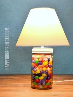 2-Minute Mason Jar Jellybean Lamp - Easy Easter Craft at www.happyhourprojects.com #QuickCraftsHOA #ad
