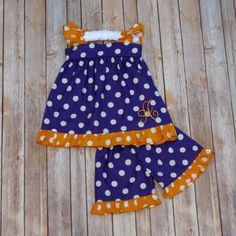 Purple & Gold Polkadot Shorts Set
