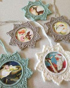 Crochet Star Photo Frame Ornament - Tutorial.