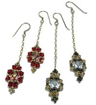 Free Pattern - Jeweled Earrings.  This pattern is fully illustrated with detailed step-by-step instructions. Matches the Jeweled Bracelet.