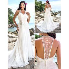 Lan Ting Sheath/Column Plus Sizes Wedding Dress - Ivory Chapel Train V-neck Chiffon – USD $ 139.99