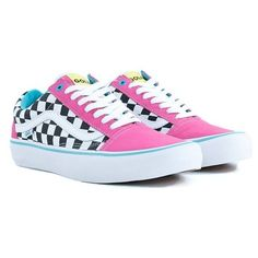 Vans Syndicate Golf Wang Old Skool Pro Blue Pink White Skate Shoes (3 175 UAH) ❤ liked on Polyvore featuring shoes, sneakers, pink trainers, pink sneakers, white trainers, sheepskin shoes and white sneakers