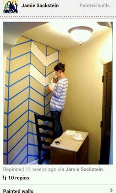 Helpful way to create a chevron wall.