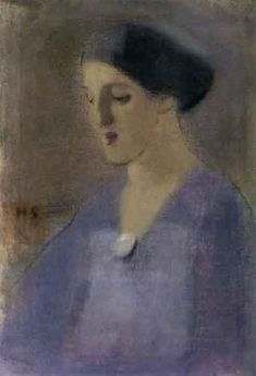 Lady wearing purple by HELENE SCHJERFBECK