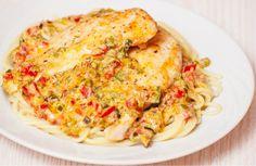 Chicken Linguine With Red Pepper Zucchini Cream Sauce