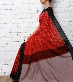 Red & Black Handwoven Ikat Cotton Saree