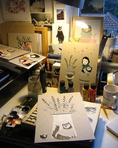 Amy Blackwell's crowded workspace :) (her love for kitties knows no bounds)