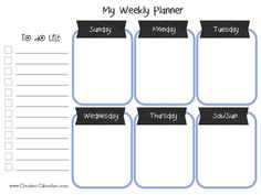Organize your meals with this free printable meal planner. Free Printable Weekly Calendar, Schedule Printable, Weekly Planner Printable, Free Printables, Calendar Templates, Monthly Planner, Happy Planner, Planner Stickers, Creative Calendar