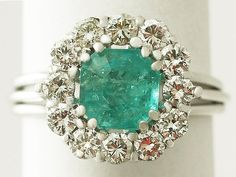 '1.94 ct Emerald and 0.95 ct Diamond 18 ct White Gold Cluster Ring - Vintage' www.acsilver.co.u...