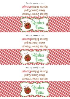 Free reindeer nose printables Christmas Labels, Christmas Crafts For Gifts, Christmas Activities, Christmas Goodies, Christmas Printables, Christmas Treats, All Things Christmas, Simple Christmas, Handmade Christmas