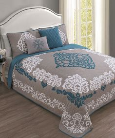 Another great find on #zulily! Teal Sorrento Five-Piece Quilt Set by Geneva Home Fashions #zulilyfinds