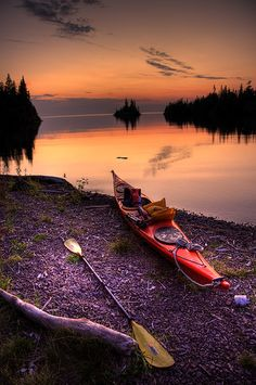 Herring Bay at sunset in Isle Royale National Park, MI