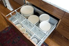 Faiths Kitchen Renovation: Fantastic kitchen storage. Pictured: frequently-used dishes and glasses. Extras are stored in shallow cupboards elsewhere.