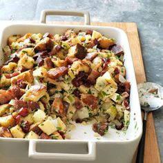Stuffing with Quince and Bacon Recipe - Delish.com Would be a great side with a quince jam glazed chicken or turkey or pork