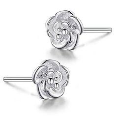 Classic Women Silver Diamond Stud Earrings