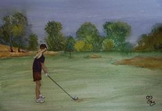 Weekends were made for Golf watercolour