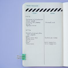 Try a food-tracking layout to keep track of nutrition and be more mindful of your eating habits or patterns. #BulletJournal #MentalHealth Listado de comidas, datos sobre nutrición