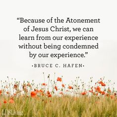 """#ItsTrue; ... """"Because of the Atonement [of Jesus Christ], [we can] learn from [our] experience without being condemned by it. His plan is developmental—line upon line, step by step. It [allows] learning from our mistakes in a continual process made possible by the Savior's grace."""" From #ElderHafen's pinterest.com/pin/24066179234680206 inspiring #GeneralConference facebook.com/223271487682878 message lds.org/general-conference/2004/04/the-atonement-all-for-all. #ShareGoodness"""