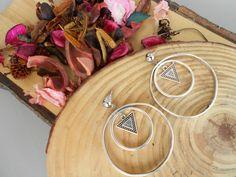 Triangle earrings,ear climbers,hoops,Geometric earrings,Silver triangle,Triangle jewelry,circle necklace,boho earrings,handmade earrings