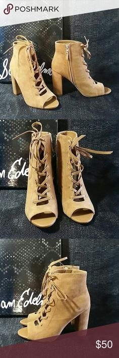 Sam edelman  open toe laced bootie brown suede New in box Sam Edelman Shoes Ankle Boots & Booties