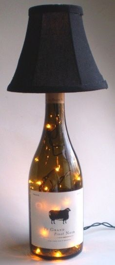 Recycled Wine Bottle Lamp--good idea for the wine/champaign bottle from your wedding! Wine Bottle Corks, Lighted Wine Bottles, Bottle Lights, Wine Bottle Crafts, Bottles And Jars, Bottle Art, Glass Bottles, Bottle Lamps, Bottle Candles