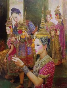 """Putting on headdress"", 2010-2011, oil on canvas, by a Thai national artist Chakrabhand Posayakrit"