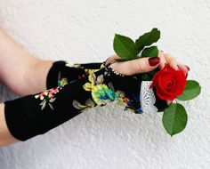 Black Flower Fingerless gloves with white lace floral by WearMeUp