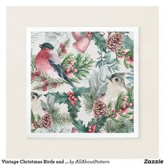Shop Vintage Christmas Birds and pines floral pattern Napkins created by AllAboutPattern. Christmas Bird, Victorian Christmas, Vintage Christmas, Bird Patterns, Vintage Patterns, Christmas Paper Napkins, Victorian Pattern, Bird Ornaments, Vintage Birds
