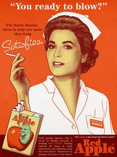 Red Apple Nurse Bonnie Satisfies Cigarettes - Mad Men Art: The 1891-1970 Vintage Advertisement Art Collection