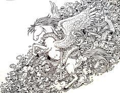 Pegasus Doodle Coloring pages colouring adult detailed advanced printable Kleuren voor volwassenen coloriage pour adulte anti-stress kleurplaat voor volwassenen Line Art Black and White 744276f223a0e8f8887622521d160a04.jpg (810×631)