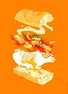 Fried Egg & Kimchi Sandwich by Kali Ciesemier