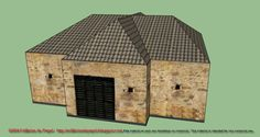 Front face with a gate These features together with the narrow window holes that are distributed throughout the facade, we think it may well be a stable or a barn in a farm field. Similarly, it could be part of a fortification or barracks.