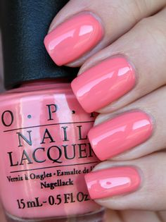 OPI Got Myself Into a Jam-balaya - In some lightings it's a sweet coral pink, in others it leans more towards a soft coral orange. | nail polish / lacquer