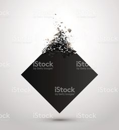 Black square with debris on white background. Abstract explosion. Vector stock vecteur libres de droits libre de droits