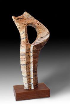 "Juan Ramón Gimeno GEA Ceramic scuplture                                                            9.7/8""x 5. 1/8"" x 20. 7/8"" th 23""                                         Wood stand (walnut) 5.7/8"" x 9.1/8"" x 2. 1/8"" Abstract Sculpture, Wood Sculpture, Clay Pots, Wood Art, Stoneware, Porcelain, Woods, Handmade, Stones"