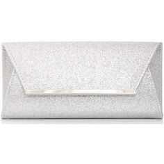 Dorothy Perkins *Quiz Silver Glitter Envelope Clutch Bag (£21) ❤ liked on Polyvore featuring bags, handbags, clutches, purses, bolsa, silver, white hand bags, silver handbags, white clutches and white purse