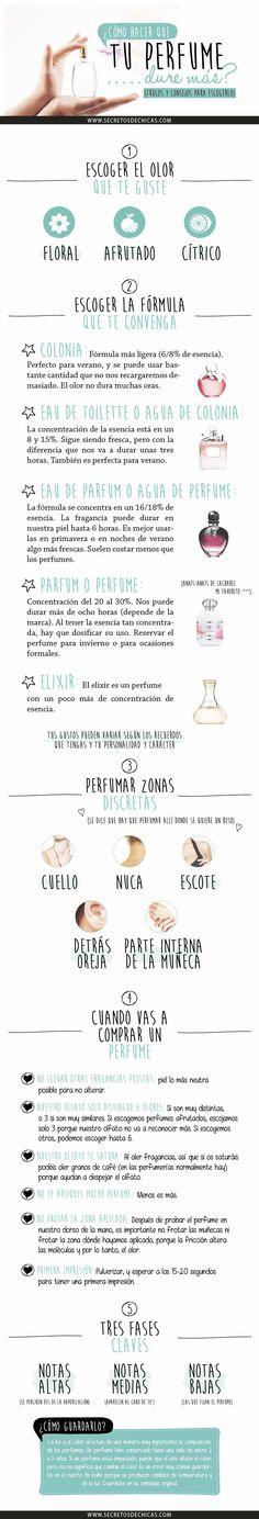 Indicaciones para que tu perfume dure más, ideas de cuál es el que mejor te funciona, con secretosdechicas.es #Perfume #ConsejosBelleza #IdeasRegalo