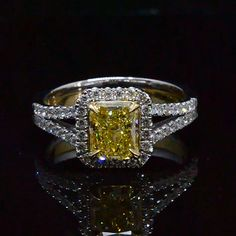 2.32 Ct. Canary Fancy Intense Yellow Diamond Engagement Ring GIA - Recently Sold Engagement Rings